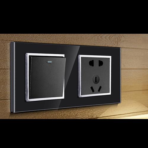 RB160钢化玻璃面板床头柜黑色带银圈