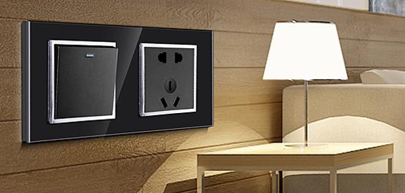 钢化玻璃面板床头柜(黑色带银圈)