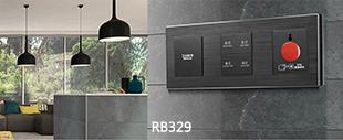 RB329弱电轻触连体开关黑色铝材拉丝