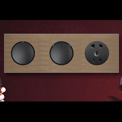 RB122B炫亮LED点酒店连体开关咖啡铝+黑按键