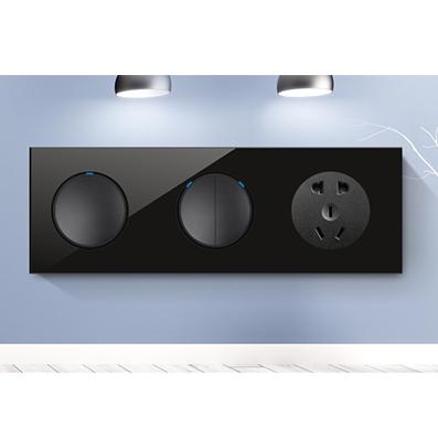 RB123A水晶LED点酒店连体开关黑玻璃+黑按键