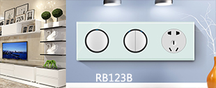 123B水晶LED点酒店连体开关浅蓝玻璃+白按键