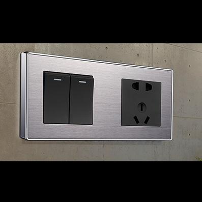 RB150精钢压铸面框连体开关床头柜不锈钢+黑