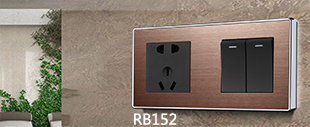 RB152精钢压铸面框床头柜连体开关玫瑰金+黑
