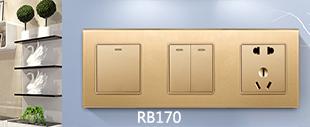 RB170钢化玻璃面板开关床头柜香槟金色