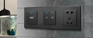RB188 LED点开关+黑色PC铝拉丝