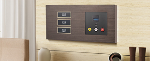 RB283弱电轻触连体开关床头柜(蓝灰色铝拉丝)